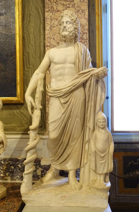Римская статуя Асклепия и Телесфора