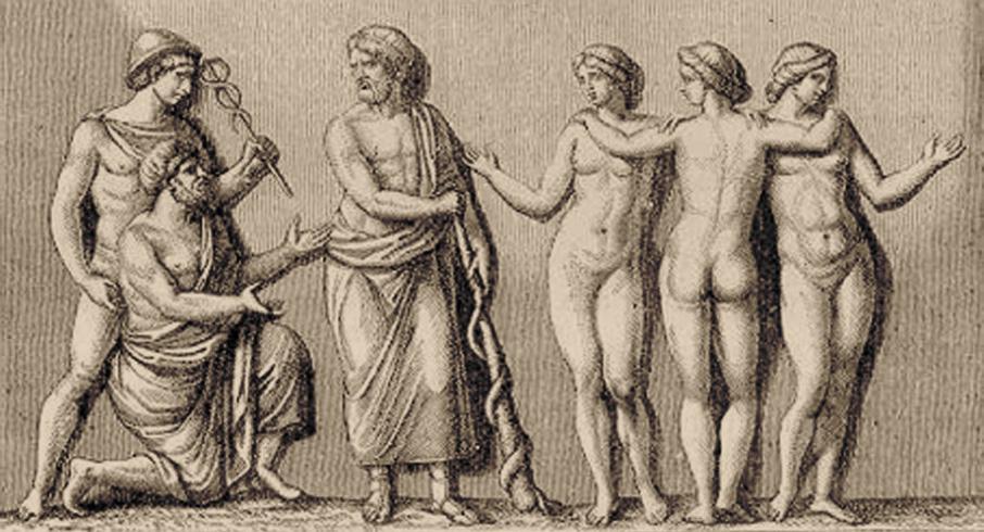 Асклепий на гравюре Обин-Луи Миллин де Гранмезонома