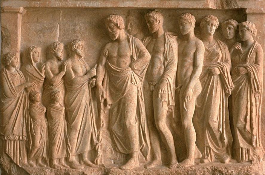 Анатолийская плита с изображением Асклепия и членов его семьи. Около 300 года до н.э